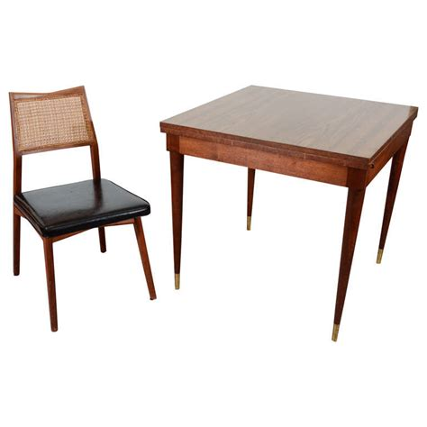 mid century fold out dining table with four chairs at 1stdibs