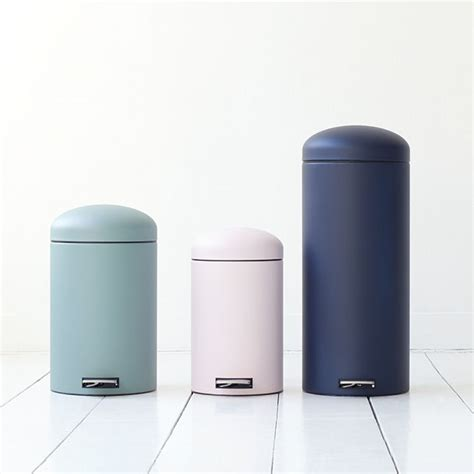design bathroom trash can matte pastel powder coat metal trash can litter bin waste