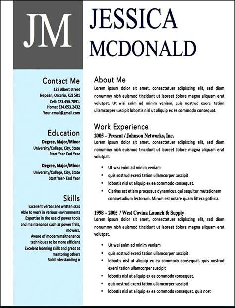 Free Modern Resume Templates Microsoft Word  Free Samples