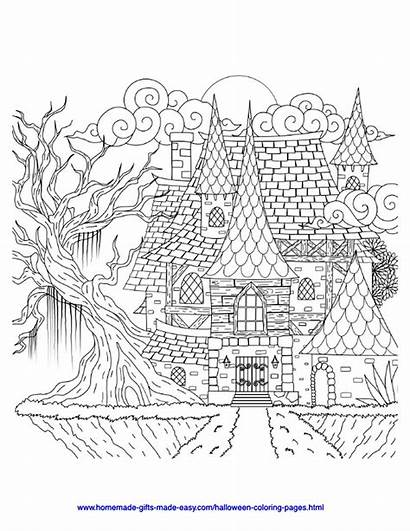 Adult Coloring Pages Spooky Halloween