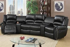 5 pcs reclining home theater black sectional With home theater reclining sectional sofa