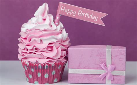 Download Wallpapers Happy Birthday, Cupcake, Festive