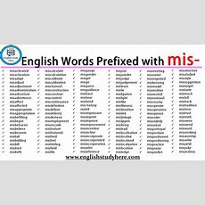 English Words Prefixed With Mis  English Study Here