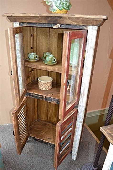 distressed curio cabinet crafters and weavers rustic distressed reclaimed wood
