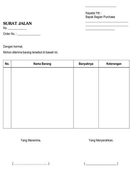 contoh surat jalan pengertian pengiriman barang kendaraan dinas