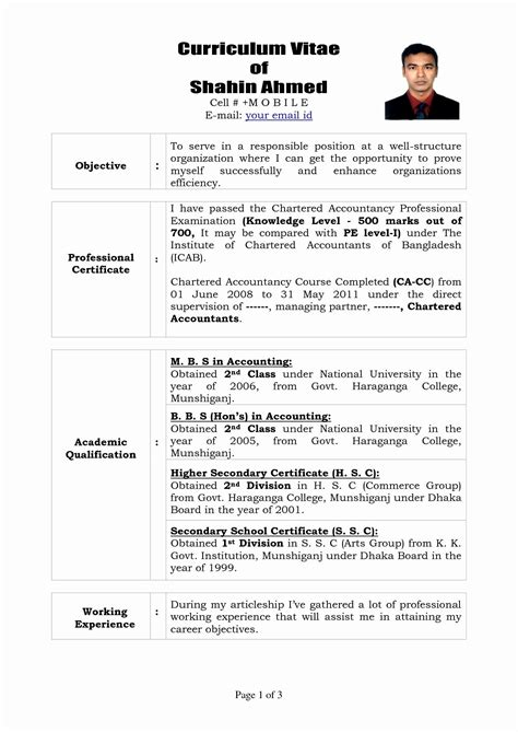 Cv Format And Sle 12 unique sle resume for articleship resume sle ideas