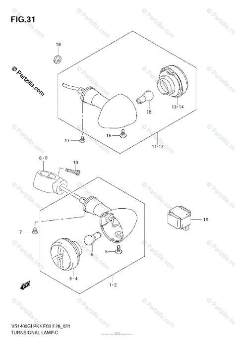 Suzuki Motorcycle Oem Parts Diagram For Turn Signal