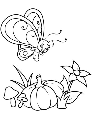 Cute Butterfly Boy Flies over Pumpkin coloring page Free