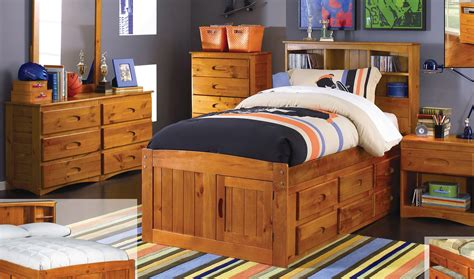 bookcase bed frame discovery furniture honey size captains bed