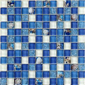 Glass, Mosaic, Tiles, Blue, Crystal, Resin, With, Conch, Kitchen, Backsplash, Tiles, Bathroom, Wall, Tiles, S102