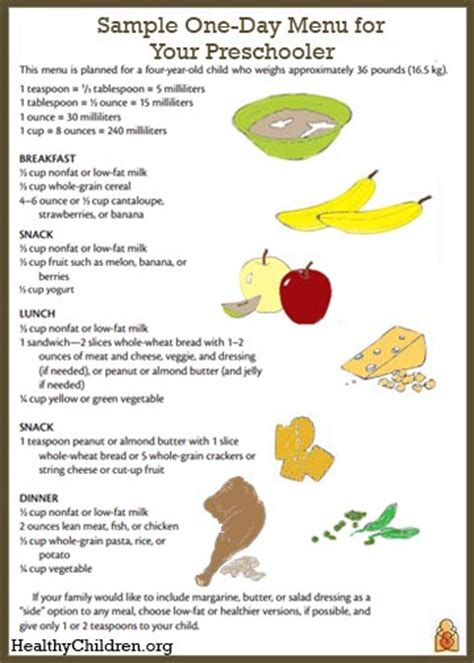 sample menu   preschooler healthychildrenorg