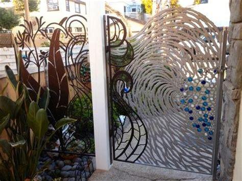 beautiful ocean wave gate  iron glass   beach