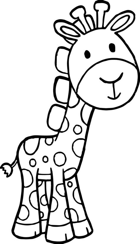 Giraffe Cartoon Free Kids Beautiful Coloring Page in 2020