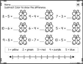 addition subtraction worksheets  number lines add