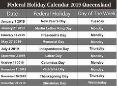Free Editable Federal Holidays Calendar 2019 QLD