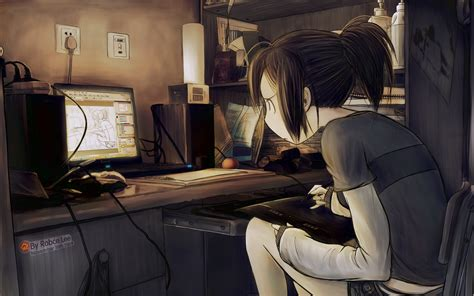 anime gamer girl wallpaper original tablet computer drawing girl art anime wallpaper
