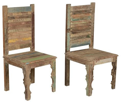 Farmhouse Rustic Old Reclaimed Wood Dining Chair (Set of 2