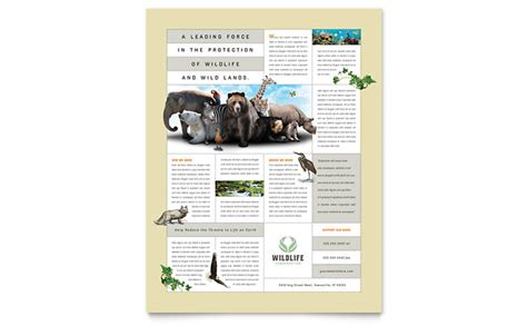 nature wildlife conservation flyer template design