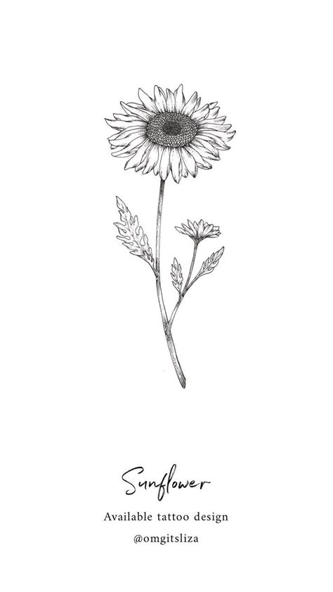 sunflower tattoo design illustration  liza sie uncategorized tattoos sunflower