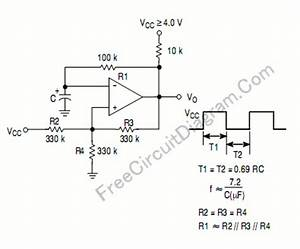 Square oscillator using comparator the circuit schematic for Circuit schematic diagram and formula of square oscillator using comparator