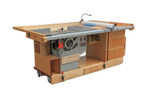 table saw workbench woodworking plans ekho mobile workshop portable cabinet saw work bench