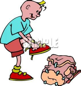 boy putting on shoes clipart a colorful of a boy putting on his shoes royalty