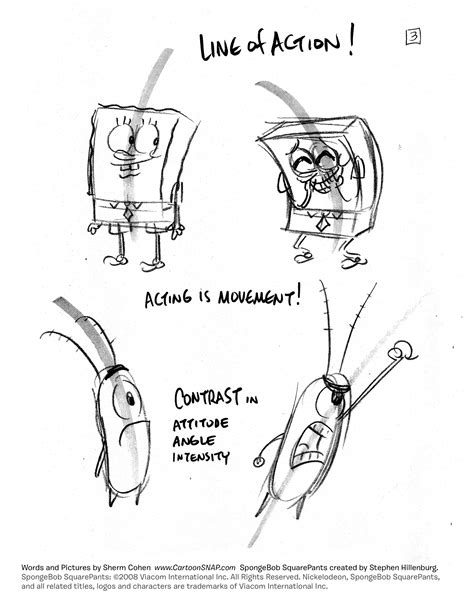 draw lively poses spongebob tip sheets truongs