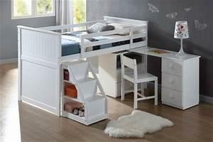 Lit Bébé Petit Espace : lit mignon et un bureau sympathique tapis blanc moelleux petit escalier avec espace de ~ Melissatoandfro.com Idées de Décoration