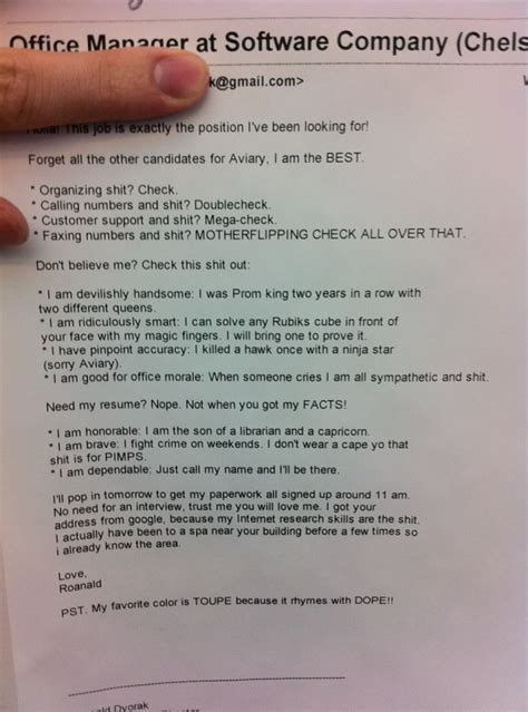 17 funniest cover letters and resumes save my boredom