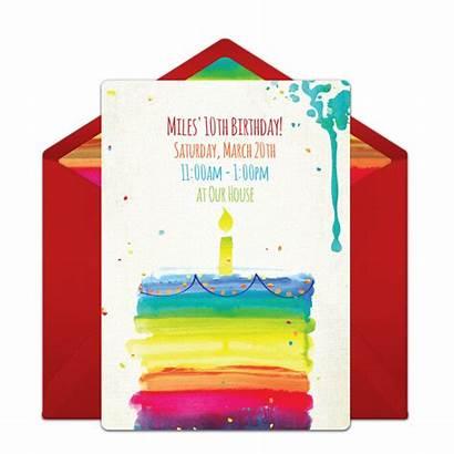 Birthday Party Invitations Rainbow Cake Invitation Invite