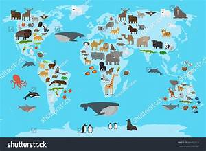 Animals World Map Animals Living Different Stock Vector