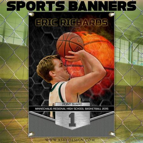 amped sports banner  great balls  fire basketball