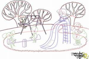 How to Draw Kids Playing In a Playground | DrawingNow