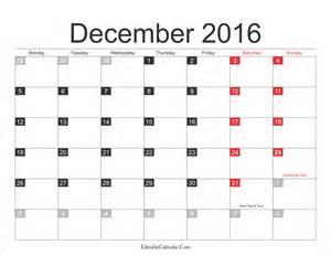 december 2016 calendar with holidays editablecalendar