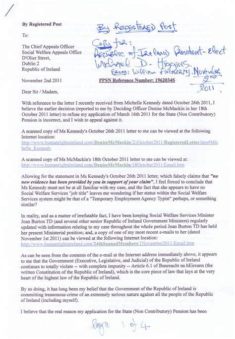 registered letter  chief appeals officer dated november