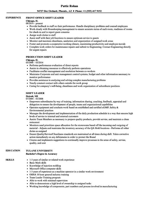 Production Manager Resume Exles by Shift Leader Resume 28 Images Unforgettable Shift