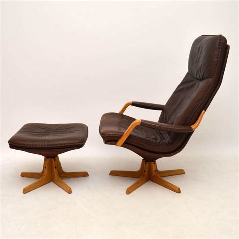 Armchair With Stool by Retro Leather Swivel Armchair Stool Vintage 1970