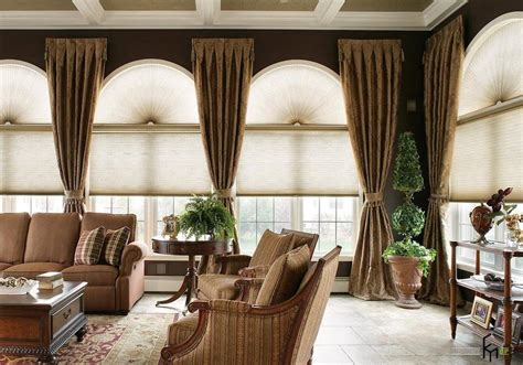 window treatment design awesome big arched windows design with shades and brown ruffled curtains decoration in a