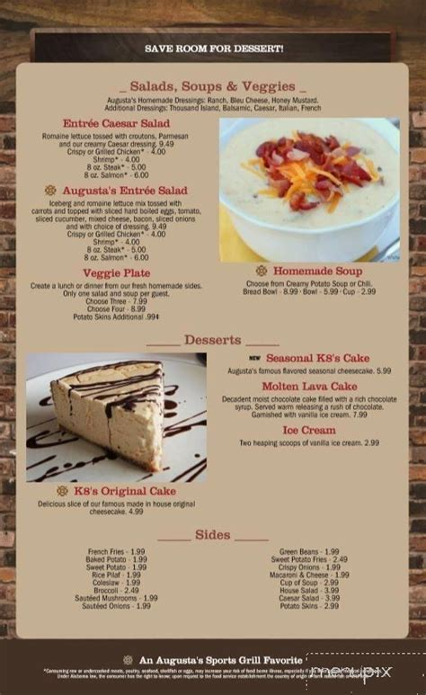Plus your choice of two country sides. Menu of Augusta's Sports Grill in Cullman, AL 35055