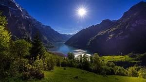 wallpaper, switzerland, lake, klontal, glarus, sun, nature