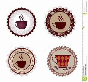 retro coffee label vector illustration package stock With coffee cup labels