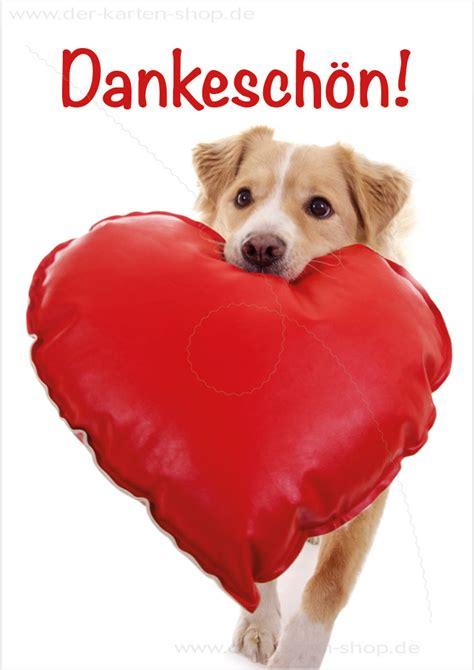 doppelkarte grusskarte dankeskarte suesser hund mit herz