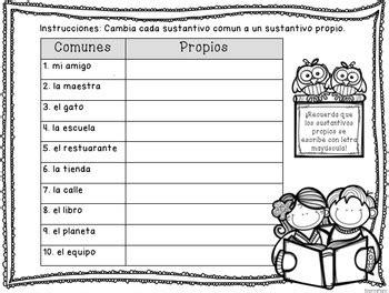 sustantivos propios  comunes bilingual nouns activity