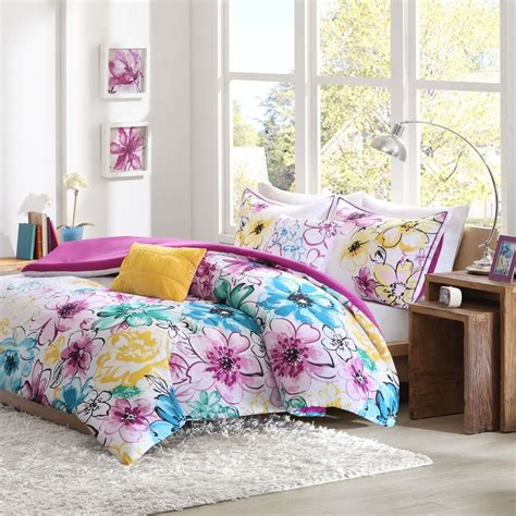 floral comforter set full queen bed flowers girls pink