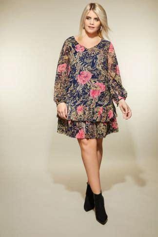 how to type a letter lovedrobe sukienka w kwiaty z plisowaniem duże rozmiary 22377   LOVEDROBE Green Pink Floral Pleated Dress 139061 780f