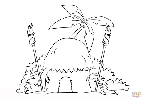 Kleurplaat Afrikaanse Hut by Tiki Hut With Torches Coloring Page Free Printable