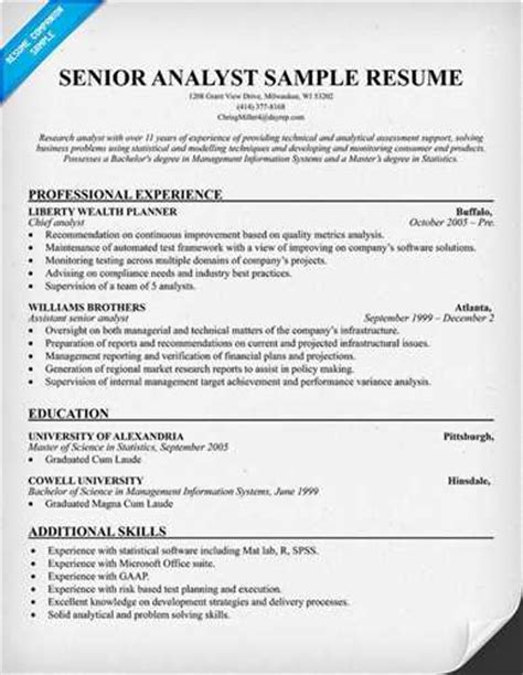 senior financial analyst resume exle page 1