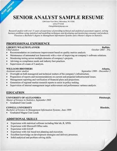 senior finance professional resume senior financial analyst resume exle page 1