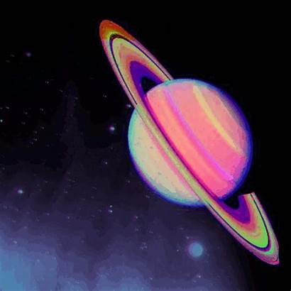 Animated Psychedelic Saturn Planets Space Flashing Planet