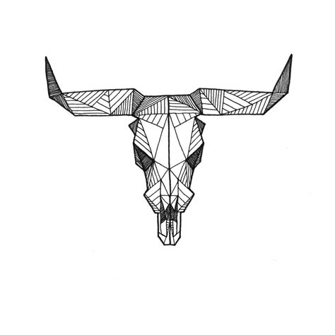Detailed Geometric Taurus Cow Bull Skull Drawing